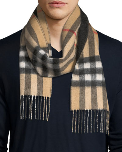 Men's Slim Cashmere Check to Solid Scarf, Brown/Black