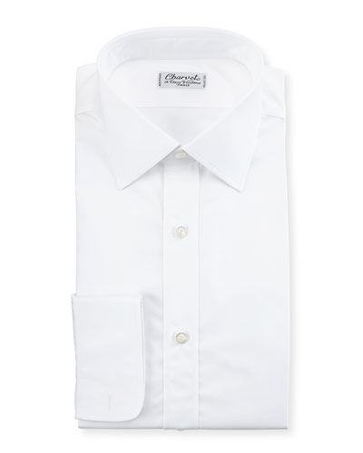 Poplin Barrel-Cuff Dress Shirt, White