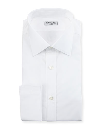Poplin French-Cuff Dress Shirt, White