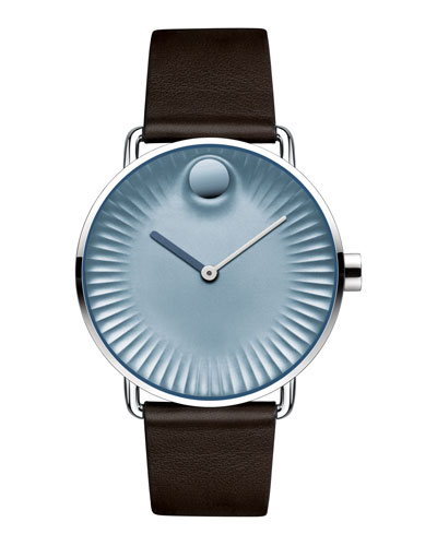 40mm Edge Watch with Leather Strap, Brown/Blue