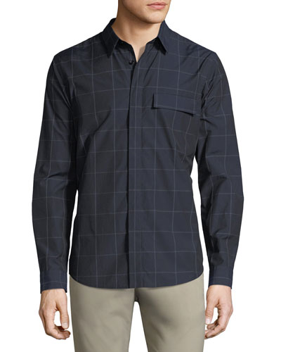 Mouline Grid Check Cotton Shirt