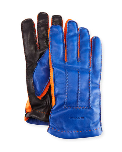 Tricolor Napa Leather Gloves