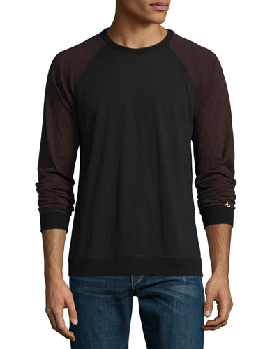 Standard Issue Colorblock Baseball T-Shirt, Black/Burgundy