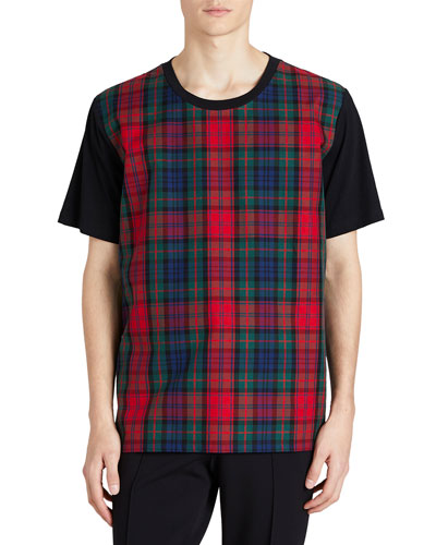 Cotton T-Shirt w/ Tartan Check Panel