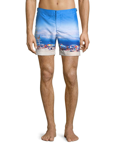 Bulldog Beach-Printed Swim Trunks, On Guard