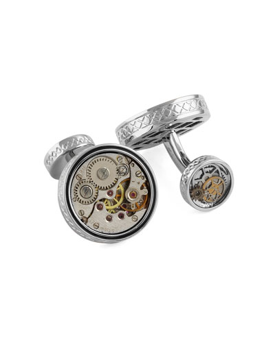 Limited Edition Rhodium-Plated Vintage Gear Cuff Links