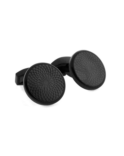 Guilloche-Embossed Black-Plated Cuff Links