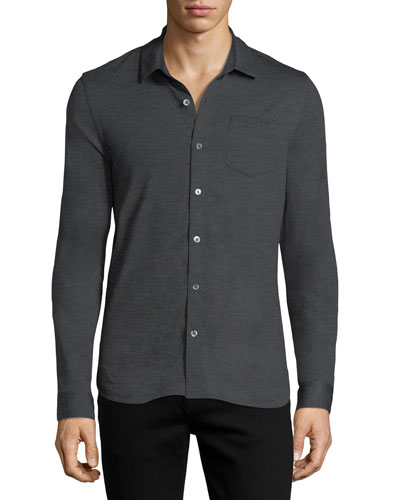 Wool Button-Front Shirt