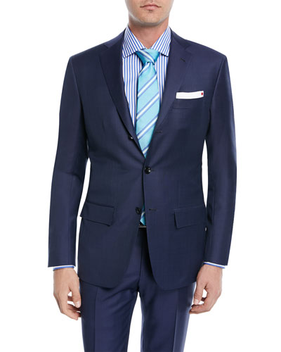 Sharkskin Wool Two-Piece Three-Button Suit