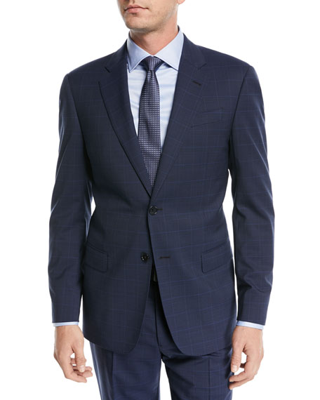 Plaid Two-Piece Wool Suit, Navy