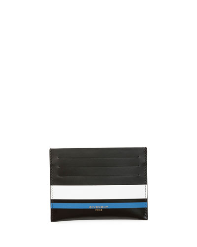 Striped Leather Card Case