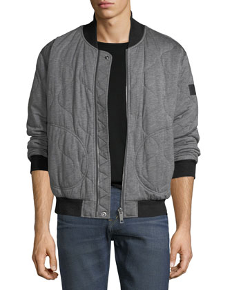 Deals on Burberry Knit Quilted Bomber Jacket w/ Nylon Sleeves