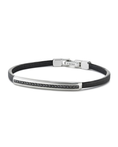 Men's Pavé Leather ID Bracelet with Black Diamonds