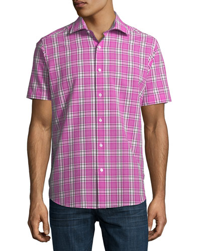Plaid Seersucker Short-Sleeve Sport Shirt