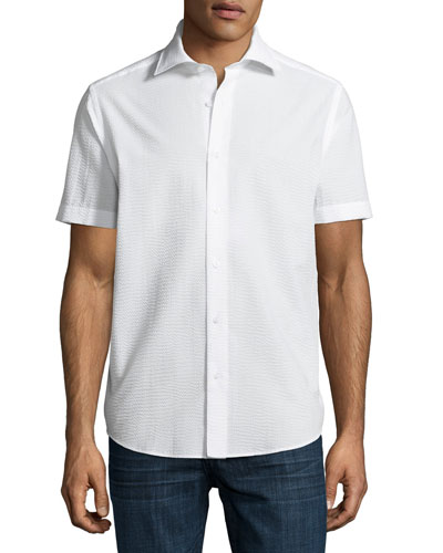 Seersucker Short-Sleeve Sport Shirt