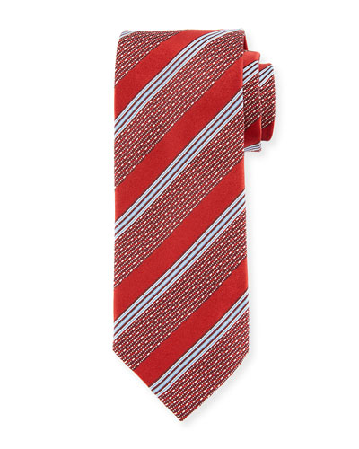 Wide Broken Stripe Silk Tie, Red