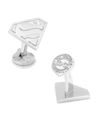 Sterling Silver Superman Cuff Links