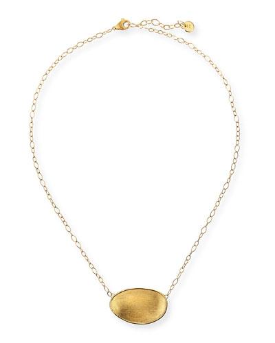 18k Gold Oval Pendant Necklace