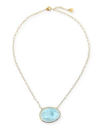 18k Gold Oval Aquamarine Pendant Necklace