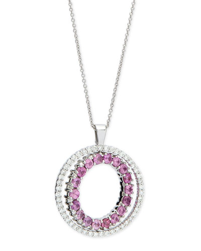 Double-Sided Diamond & Pink Sapphire Pendant Necklace