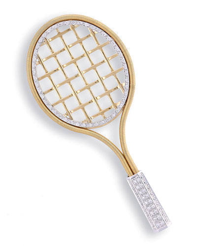 Tennis Racket 18k Gold & Diamond Brooch