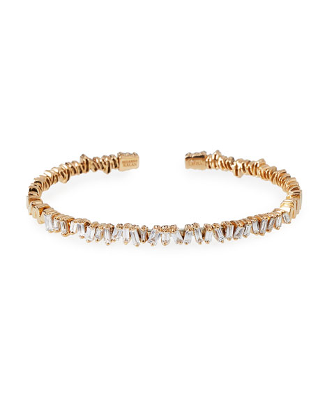 Suzanne Kalan Baguette Diamond Bangle in 18K Rose Gold gjuiYDN