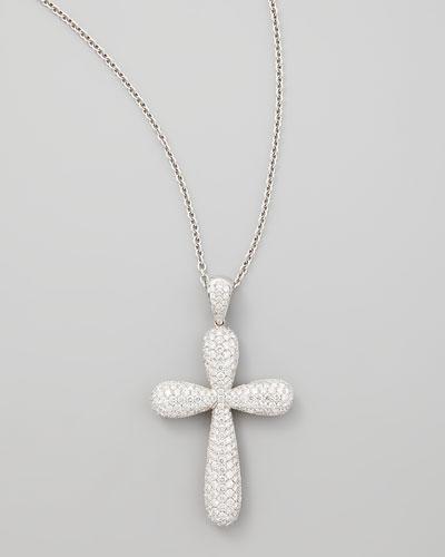 18k White Gold Large Pave Diamond Cross Pendant Necklace, 4.81ct