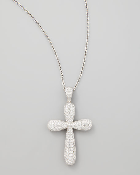 Pave cross necklace necklace wallpaper gallerychitrak nm diamond 18k white gold large pave cross pendant necklace aloadofball Image collections
