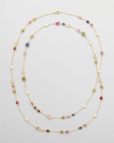Siviglia 18k Multicolor Sapphire Station Necklace, 47