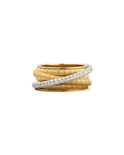 Diamond Cairo 18k Five-Strand Ring with Diamond Accent