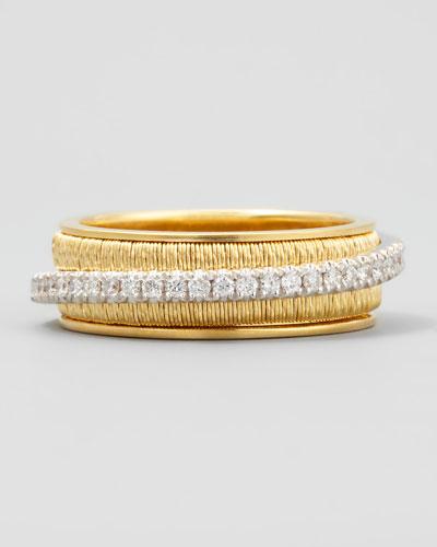 Diamond Cairo 18k Three-Strand Ring with Diamond Accent