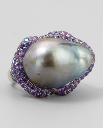 Gray Pearl Halo Ring with Blue and Purple Sapphire