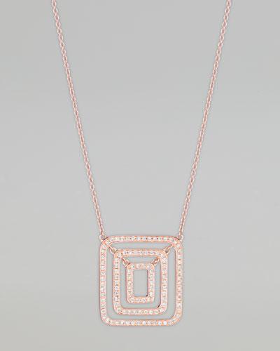Piece 18k Rose Gold Diamond Pendant Necklace