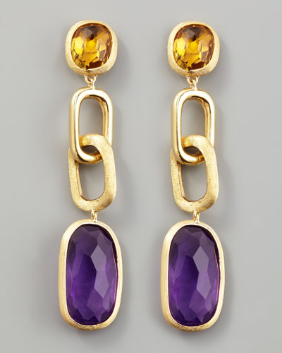 Murano 18k Link Drop Earrings with Amethyst and Citrine