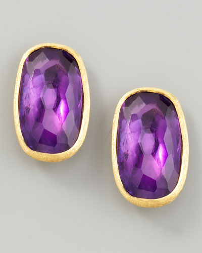 Murano 18k Amethyst Stud Earrings, 20mm