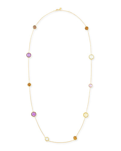 Ipanema 18k Gold Semiprecious Station Necklace, 18