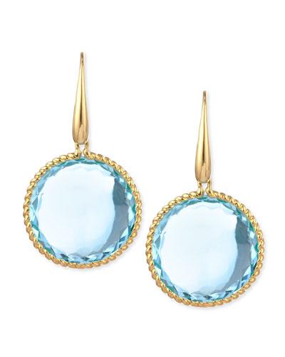18k Yellow Gold Ipanema Round Blue Topaz Drop Earrings