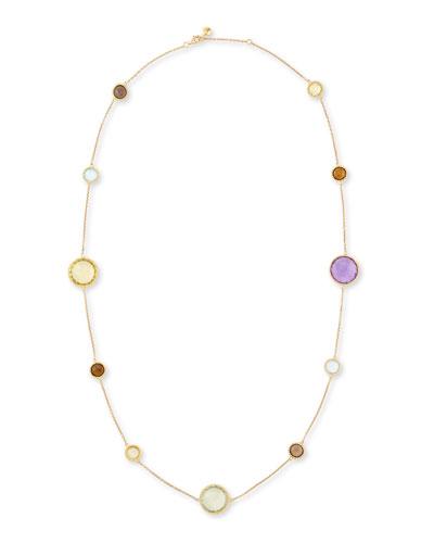 Ipanema 18k Gold Semiprecious Station Necklace, 33
