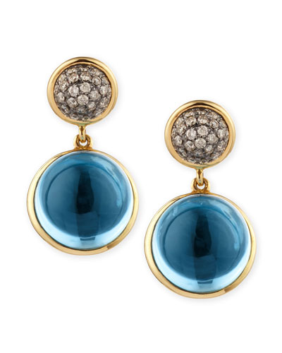 Baubles Big Diamond & Blue Topaz Earrings