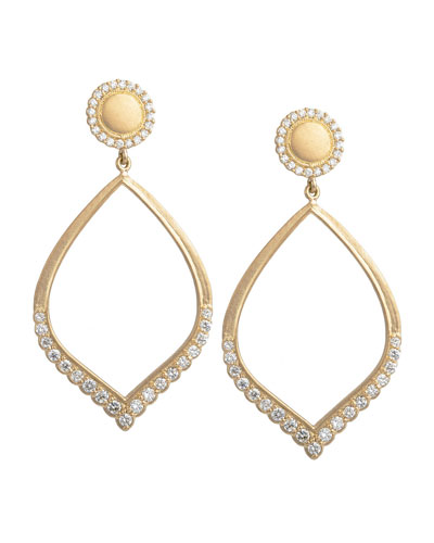 Open Scalloped Petal Earrings with Diamonds