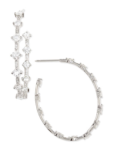 18k White Gold Pear-Shaped Diamond Hoop Earrings, 6.51 TCW