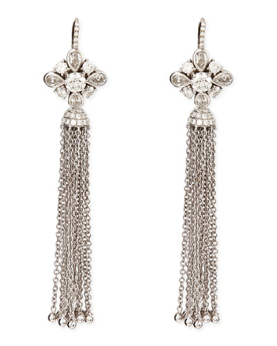 18k White Gold Round, Pear, & Pave Diamond Earrings with Detachable Tassel