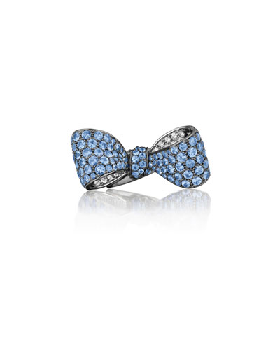 Bow Large 18k Gold Sapphire & Diamond Ring