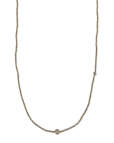 "Faceted Pyrite Necklace with Pave Diamond Beads, 44""L"