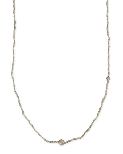 "Faceted Labradorite Necklace with Pave Diamond Beads, 44""L"