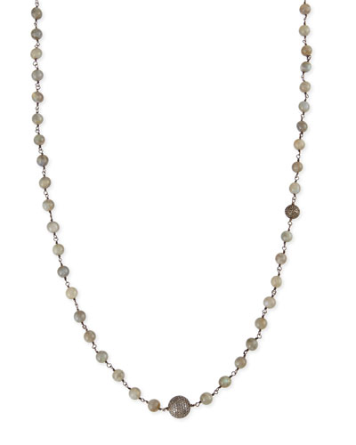 Polished Labradorite Necklace with Pave Diamond Beads, 44""