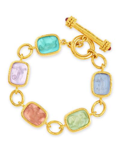 Antique Animals Intaglio 19k Toggle Bracelet, Pastel/Multicolor