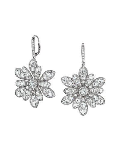 18k White Gold Round and Rose-Cut Diamond Flower Drop Earrings