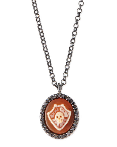 Skull Shield Carnelian Necklace with Diamonds