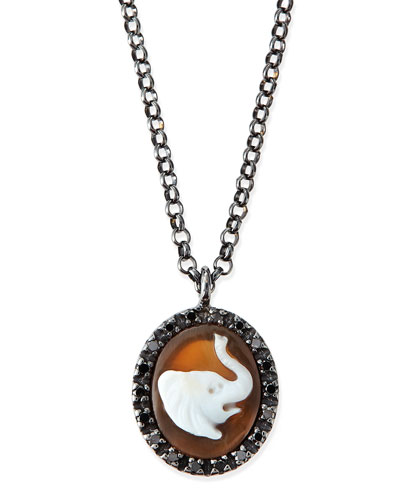 Hand-Carved Elephant Cameo Necklace